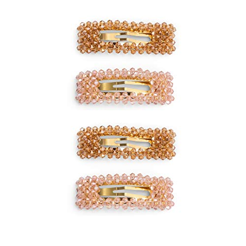 Zoë Ayla Pinzas de Cabello Piedras Preciosas 4 Pieza, Naranja y Rosa 60 gr