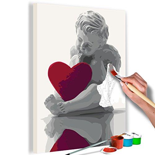 murando - Malen nach Zahlen Engel mit Herz 40x60 cm Malset mit Holzrahmen auf Leinwand für Erwachsene Kinder Gemälde Handgemalt Kit DIY Geschenk Dekoration n-A-0366-d-a