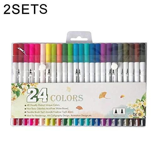 Wuqiang 2 Sätze 24-Farben Soft-köpfiger Doppelkopf Zeichnung Aquarell-Stift-Kinderkindergarten Schule Schüler gemalt mit handgemalten Farbe Waschbar Marker