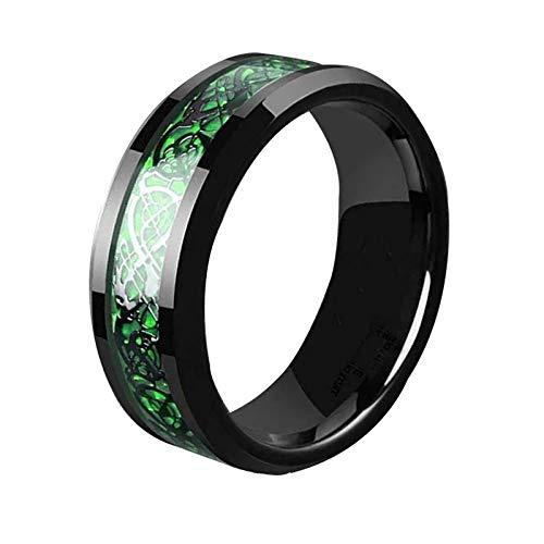 Titanium Men's Green Celtic Dragon Carbon Fiber Ring Size 6-13 Unisex Lavastorm (9)