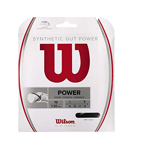 Wilson Synthetic Gut Power Cordaje De Tenis, 12.2 M, Unisex, Negro, 1.30 Mm