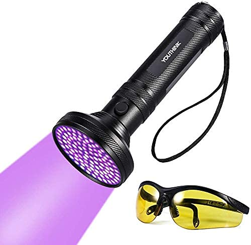 YOUTHINK Torcia UV, 100 LEDs Lampada Ultravioletta Luce 395nm con Occhiali da Sole UV per Animali Cane Gatto Urina, Scorpioni(100 LEDs) [Classe di efficienza energetica A]