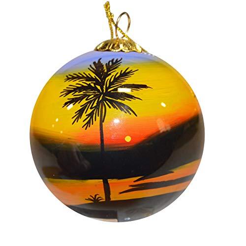 Art Studio Company Hand Painted Glass Christmas Ornament - Sunset Palm Trees and Seagulls Tamarindo, Costa Rica