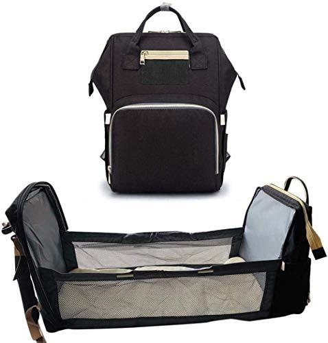 Mochila para bebé, bolsa de pañales, cuna plegable, cama liviana convertible para bebé, bolsa de almacenamiento de viaje multiusos, mochila para cambiar a mamá, mochila y cuna, carga USB 3 en 1
