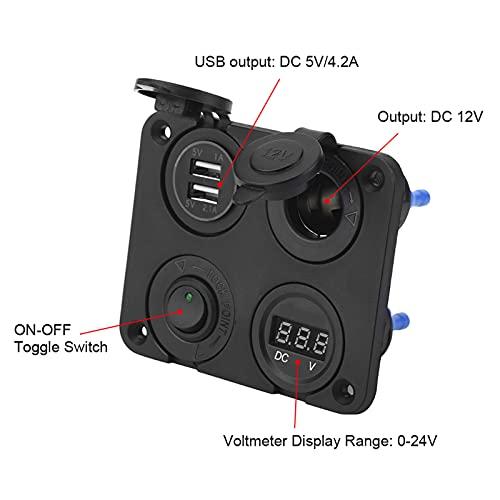 Panel de interruptores de 12v, plástico ABS cinco Panel de interruptores de palanca de protección inteligente DC 5V / 4.2A para cámaras digitales(green)