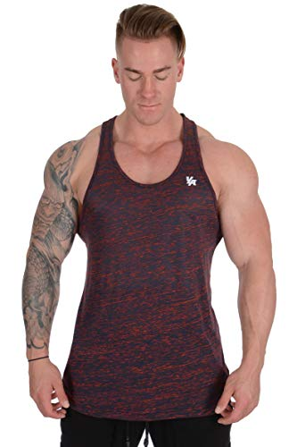 YoungLA Stringer Tank Tops for Men   Workout Muscle Y Back   Gym Bodybuilding Clothing   302 Navy Red XX-Large