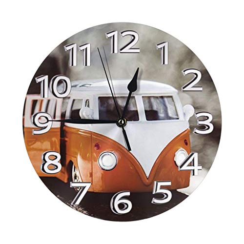 POETRY VW Bus Clock Number Modern Mute Fai da Te Grande Orologio da Parete Senza Cornice Ideale per Qualsiasi Stanza della casa, Sala da Pranzo, Cucina, Ufficio, Scuola