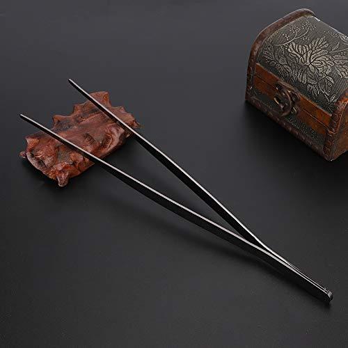 Keukenpincet, gekartelde punt Roestvrijstalen huishoudelijke keuken Kookpincet Voedselklem Keukengereedschap(Zwart)
