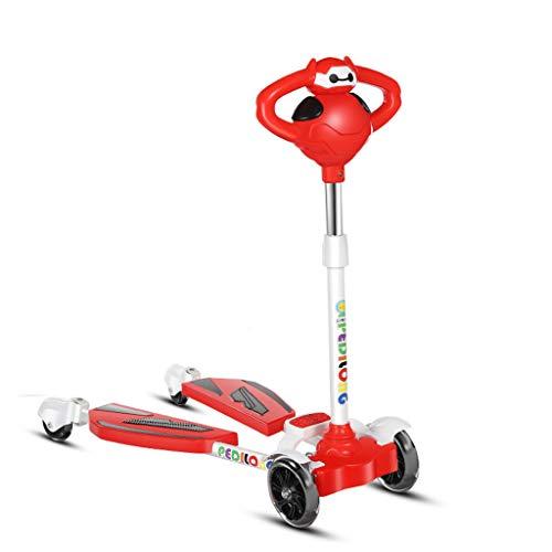 Scooter enfants 2-8 ans garçons et filles 20-80kg, roues clignotantes à LED, pliable, réglable (Couleur : Red)