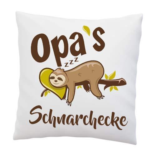 Liebtastisch Kissen mit Spruch - Opa's Schnarchecke - Faultier - Kissenbezug mit Füllung - Geburtstag - Geschenk Bester Opa - Deko Kissen - weiß 40cmx40cm