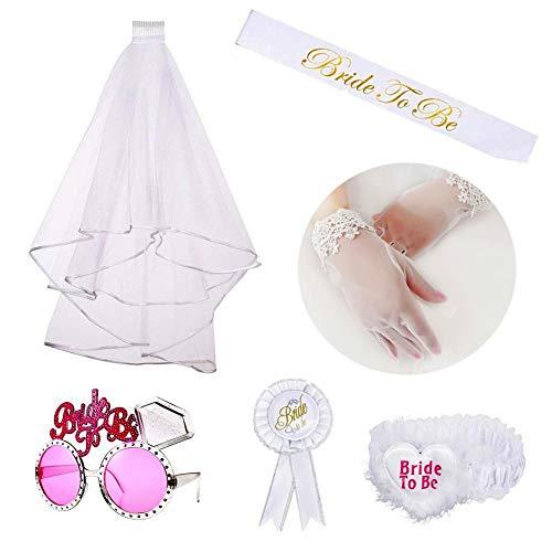Juego de decoración de Despedida De Soltera, kit de novia incluyen banda, velo,...