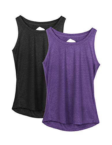 icyzone Yoga Tops Activewear Workout Clothes Open Back Fitness Racerback Tank Tops for Women(M,Black/Purple)