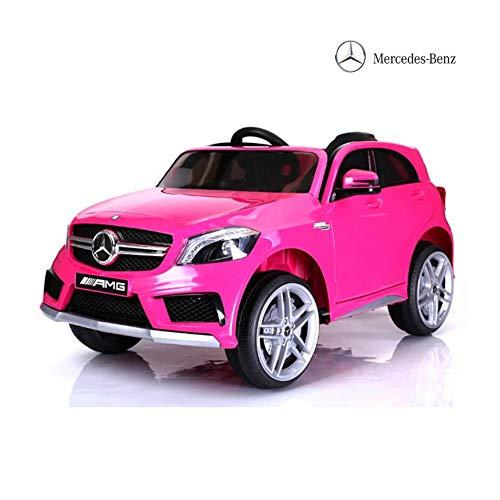 BAKAJI Auto Elettrica per Bambini Mercedes A45 AMG 12CV con Telecomando 2,4 GHz, Sedile in Pelle E Impianto Audio Mp3. (Rosa)