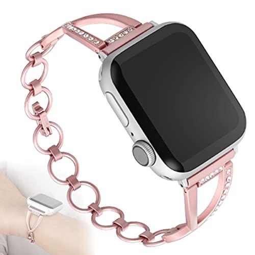 Correa Compatible con Iwatch 38 Mm 42 Mm 40 Mm 44 Mm, Correa De Metal De Acero Inoxidable Diamante De Repuesto para Apple Watch Series 5/4 / 3/2,38mm/40mm