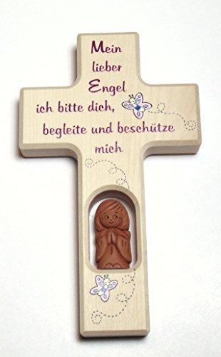 Christshop Schutzengelkreuz, Taufkreuz, Kinderkreuz mit Schutzengel f. Mädchen Mein Lieber Engel