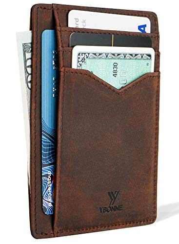 YBONNE Minimalist Front Pocket Wallet for Men and Women, RFID Blocking Thin Card Holder, Made of Finest Genuine Leather