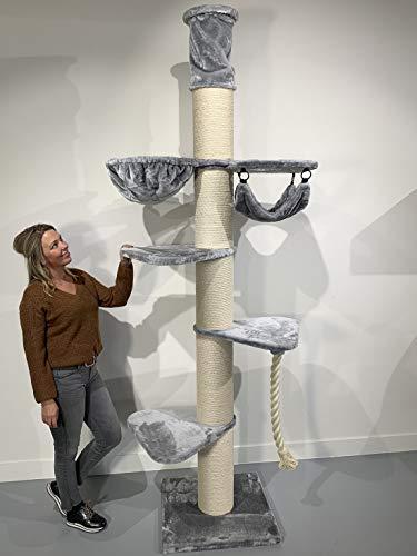 RHRQuality Kratzbaum für große Katzen stabil XXL Maine Coon Tower Crown Hell Grau deckenhoch