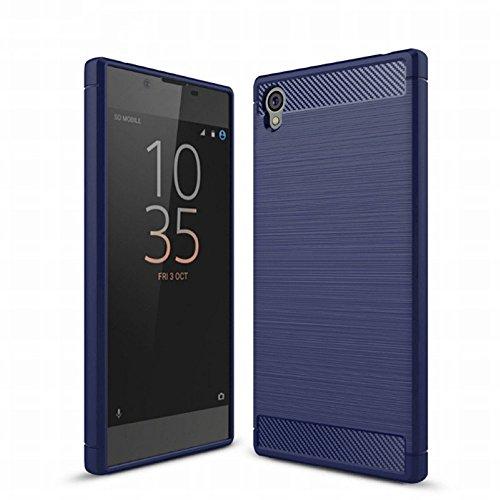 König Design Handy-Hülle kompatibel mit Sony Xperia Z6 Silikon Hülle Hülle Sturzsichere Back-Cover Handyhülle - Carbon - Blau