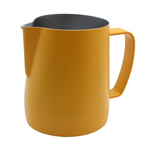 Dianoo Brocca fumante caraffa in acciaio inossidabile adatta per caffè e schiuma di latte 350 ml giallo