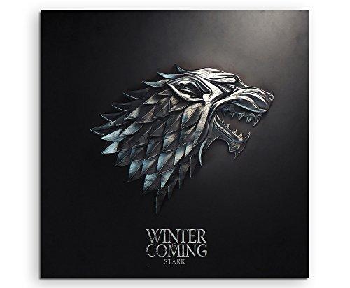 Game of Thrones Stark Leinwandbild in 60x60cm Made in Germany! Preiswerter fertig gerahmter Kunst-Druck zum Aufhängen - tolles und einzigartiges Motiv. Kein Poster oder Plakat!