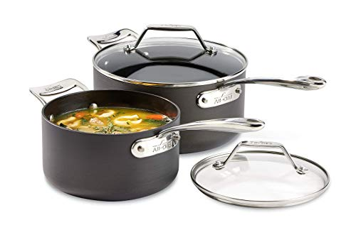 All-Clad Essentials Nonstick Saucepan set, 4-Piece, Grey