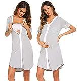 Ekouaer Sleepshirt Women Button-Front Nightshirt Short Sleeve Nightgown Sleepwear,Gray,Large
