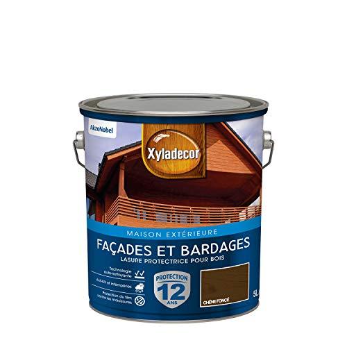Xyladecor - Lasure Protectrice pour Bois Extérieur - Façades, Bardages, Chalets - Couleur : Satin Chêne Foncé - Quantité : 5L - 5324306
