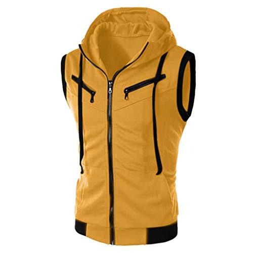Yowablo Herren Ärmellose Zip Front Baumwolle Sport Hoodies Aktive Weste Jacke Reißverschluss Athletic Bodybuilder Hoodies Tanks Sportswear Tops (4XL,Gelb)