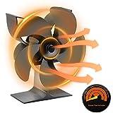 Ventilador de estufa, 5 aspas, funcionamiento con calor, 1400 rpm, quemador de leña, ventilador ecológico, silencioso, para el hogar, distribución eficiente del calor
