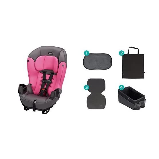 Evenflo Sonus Convertible Car Seat, Strawberry Pink with Car Seat Accessory Kit