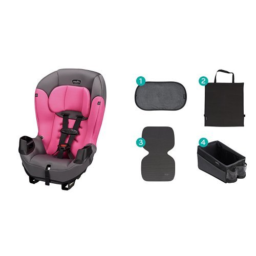 Great Deal! Evenflo Sonus Convertible Car Seat, Strawberry Pink with Car Seat Accessory Kit