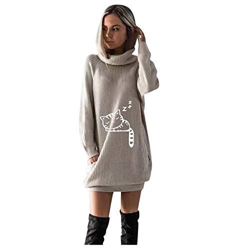 Mujeres otoo Invierno clido Cuello Alto Vestido de Punto con Bolsillos Moda Manga Larga Impreso Gato Lindo por Encima de la Rodilla Mini Vestido