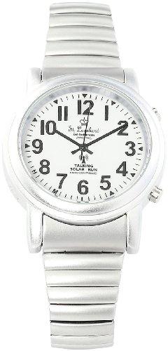 St. Leonhard Sprechende Armbanduhr: Sprechende Seniorenuhr mit Funk und Solar, versilbert (Seniorenuhr Armbanduhr)