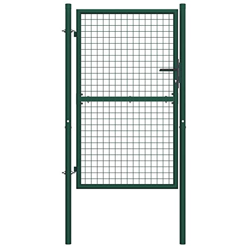 Garden Fence Gate with Lockable 3 Matching Keys,Powder-Coated Steel Green,Against Rust and Corrosion,by BIGTO (Gate Size:100 x 175 cm,Post Height:225 cm)