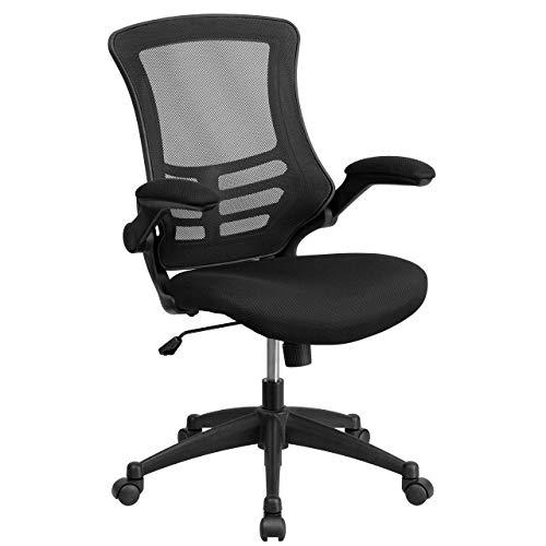 Flash Furniture MidBack Black Mesh Swivel Ergonomic Task Office Chair with FlipUp Arms BIFMA Certified