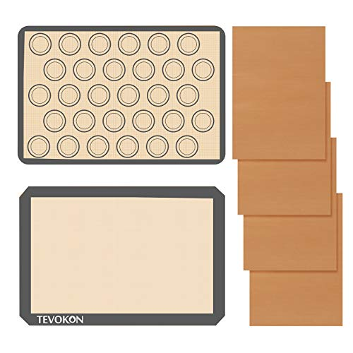 Tevokon Silicone Baking Mat Set Non-Stick Half Sheet Pastry Mat (16.5' x 11.6') Reusable For Macaron Cookie Pie Making With 4 Pack Nonstick Teflon Sheet Oven Liner (16.5' x 11.6')