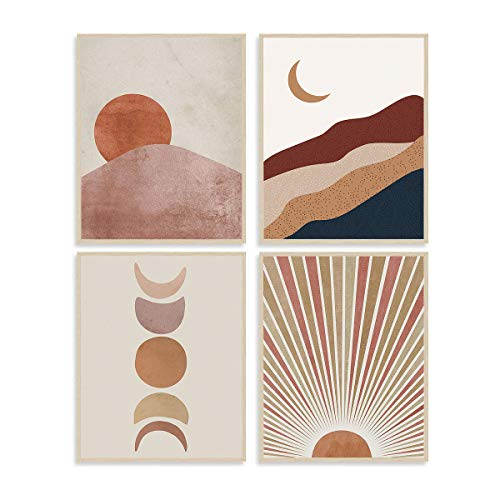 "Sun and Moon Art Painting Wall Decor Terracotta Mid Century Modern Boho Themed Canvas Wall Art Prints for Home Bedroom Wall Decorations, Set of 4 (8""X10"", No Frame )"