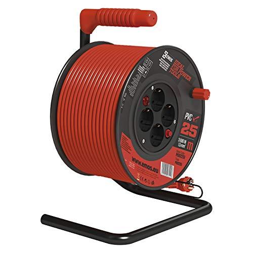 EMOS Carrete alargador de Cable con Interruptor (25 m, 4 enchufes Schuko,...