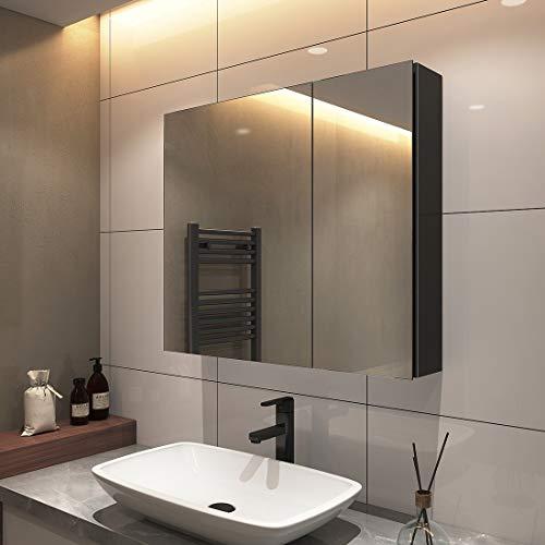 S'AFIELINA Spiegelschrank Hängeschränke 75x65cm Doppeltür Bad Spiegelschrank Badschrank mit Doppelseitiger Spiegel Mit zweilagigem Edelstahlregal(schwarz)