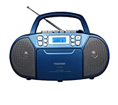 Top-loading MP3 CD Cassette player Boom box with a built-in AM/FM radio tuner Output power is 1.5 W x 2 RMS Attractive speaker grill