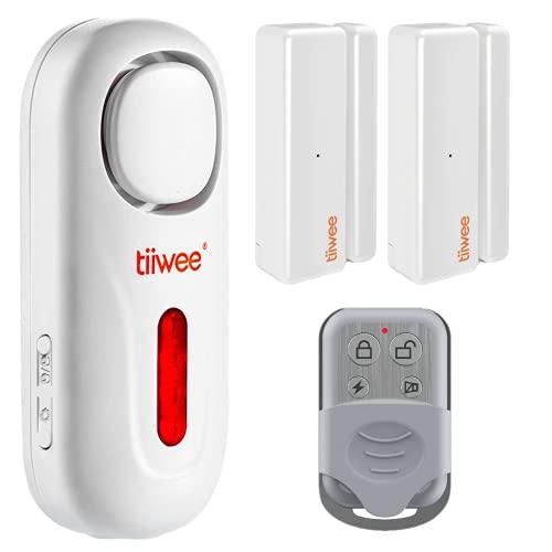 tiiwee A1 Alarmanlage mit lauter 120dB Sirene, 2 Tür- und Fenstersensoren, 1 Fernbedienung - Erweiterbar - Alarmmodus und Benachrichtigungsmodus - Fensteralarm Türalarm