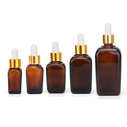 Bluelover 5Pcs Bouteille De Liquide en Verre Ambre Flacon De Parfum Huile Essentielle Bouteille De Toner Réutilisable - 20Ml