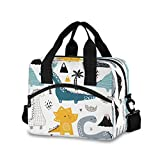 Dino Scandinavian Style Lunch Bag Insulated Reusable Tote Bag for Girls Boys Women Men Thermal Cooler Bag with Adjustable Strap for Work School