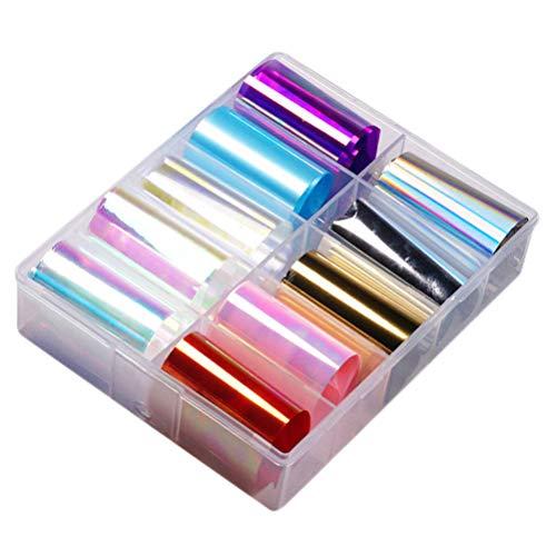 Pixnor 1 Boîte de Transfert de Feuille D'ongle Autocollant Holographique Nail Art Autocollants Conseils Wraps Feuille de Transfert Adhésif Paillettes Acrylique Bricolage Décoration (10 Couleurs)