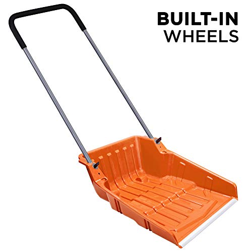 "For Sale! Ivation Snow Pusher Scoop, Shovel with Wheels for Driveway, Sidewalk, 25"" Extra Large Ca..."