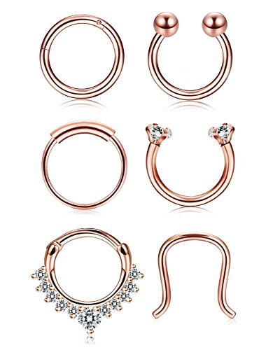 Thunaraz 4-6Pcs 316L Stainless Steel Septum Piercing Nose Rings Hoop Cartilage Tragus Retainer Body Piercing Jewelry 8MM 16G (A 6Pcs Rose Gold Tone)
