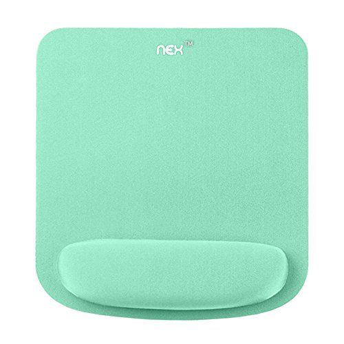 NEX Mouse Pad with Memory Foam Wrist Rest, Non-Slip Rubber Base Mouse Mat for Typist Office, Mint Green