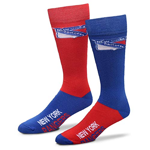 For Bare Feet Men's NHL 4-Square Mismatch Dress Socks (New York Rangers, Large (10-13))