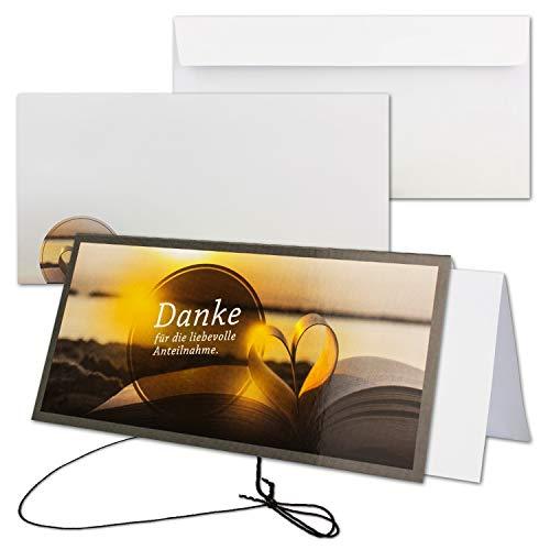 10x Trauerkarte mit Umschlag Set Danksagung - Herz- DIN Lang Quer-Format - Danksagungskarten Trauerkarten nach Beerdigung - Trauer-Papiere by Gustav NEUSER
