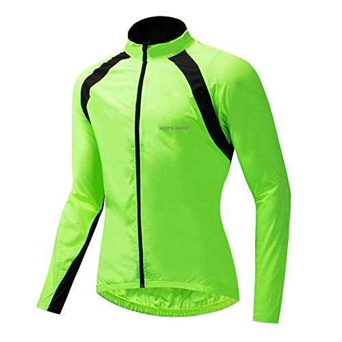 Cycling Jacket Outdoor Sports Windbreaker Long Sleeve Breathable Water Repellent Cycling Jersey for Cycling Running Walking,Green,XXL